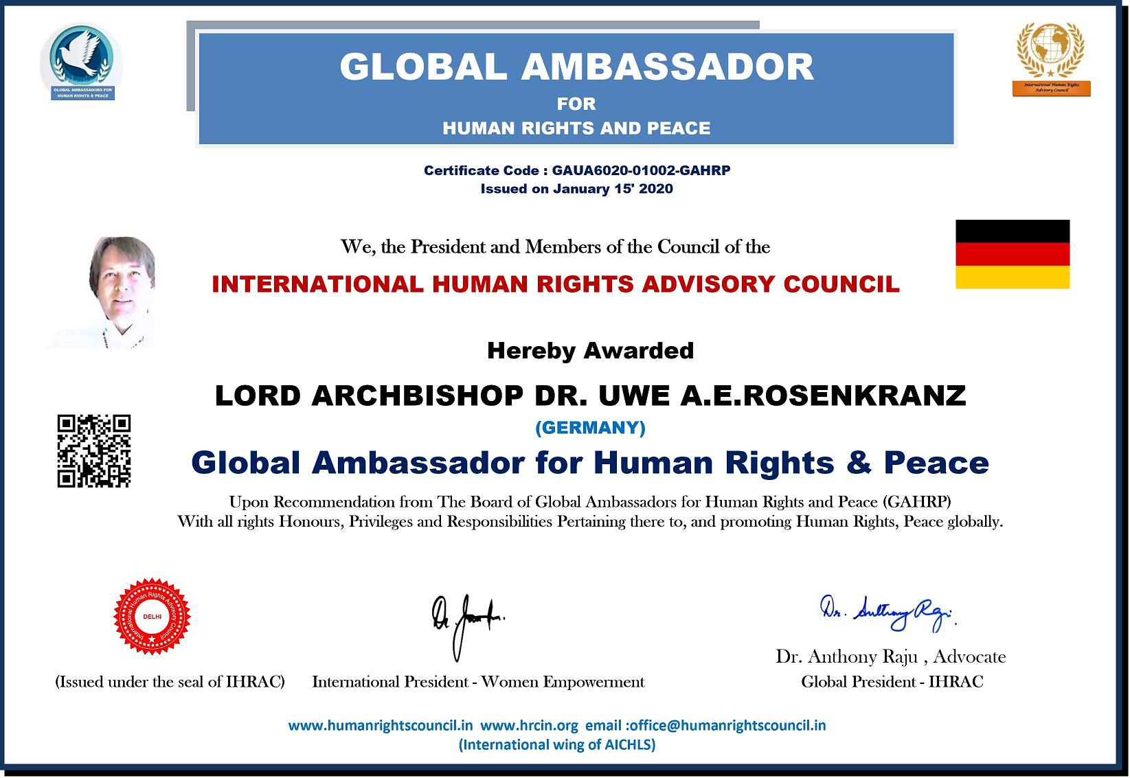 Ambassador LAD Rosenkranz